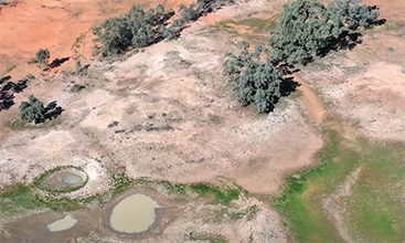 Aerial of the Great Artesian Basin, NSW.